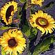 """Картины цветов ручной работы. Ярмарка Мастеров - ручная работа. Купить Панно """"Подсолнухи"""". Handmade. Желтый, креативно, творить, лен"""
