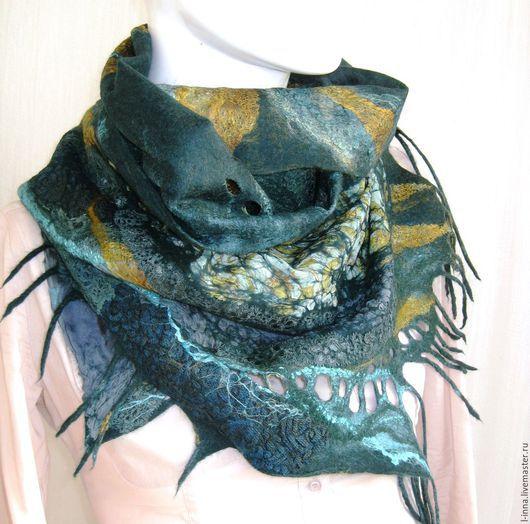 Шарфы и шарфики ручной работы. Ярмарка Мастеров - ручная работа. Купить Малахитовая шкатулка  шарф валяный авторский. Handmade.