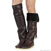 Обувь ручной работы handmade. Livemaster - original item Winter boots-boots the sheepskin HESSIAN bots/ 40 size. Handmade.