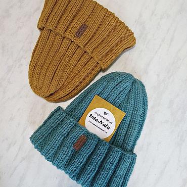 Аксессуары ручной работы. Ярмарка Мастеров - ручная работа Зимняя вязаная шапка Тыковка резинкой с отворотом. Handmade.