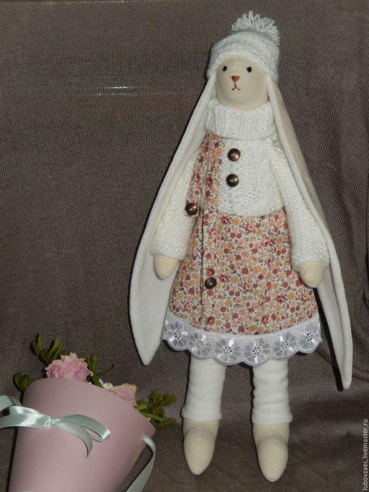 Куклы Тильды ручной работы. Ярмарка Мастеров - ручная работа. Купить Заяц Тильда романтичный, розовые цветы. Handmade. Белый