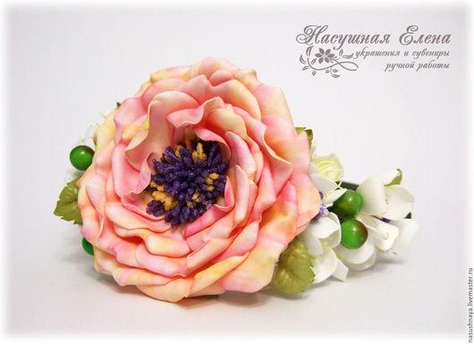 """Диадемы, обручи ручной работы. Ярмарка Мастеров - ручная работа. Купить ободок с цветами из фоамирана """"Весенний цвет"""". Handmade. Белый"""
