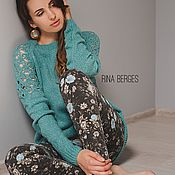 Одежда ручной работы. Ярмарка Мастеров - ручная работа Лесная капель. Вязаный мятный свитер из кашемира. Handmade.