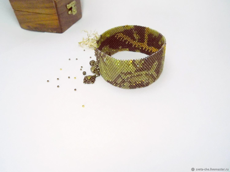 Браслет-ремешок из японского бисера Делика Стимпанк, Браслеты, Темрюк, Фото №1