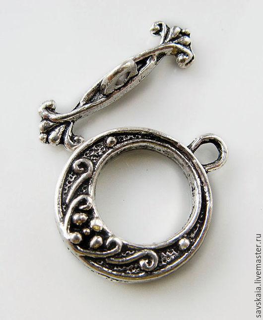 Застежка-тогл,  античное серебро с узором