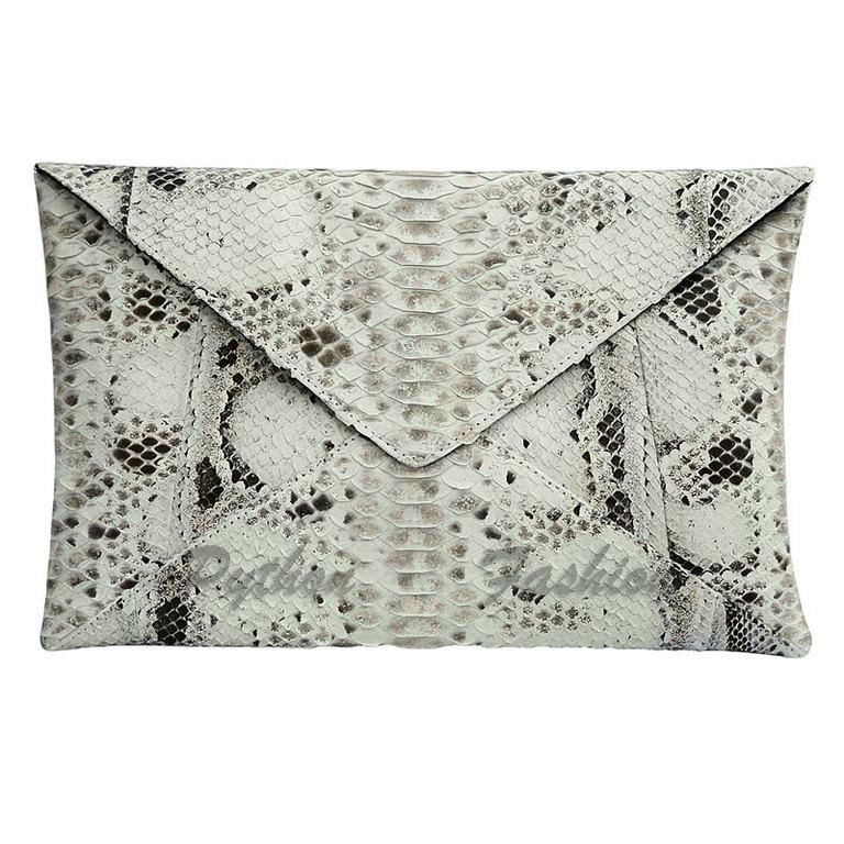 Clutch of Python. Envelope clutch bag made from Python. Designer clutch handmade. Beautiful leather handbag from Python. Stylish women's clutch bag to order. Fashionable clutch made from Python. Beton
