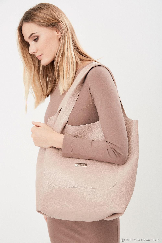 Summer bag pink leather-Large Shoulder bag made of leather String Bag, Shopper, Moscow,  Фото №1
