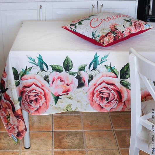 Текстиль, ковры ручной работы. Ярмарка Мастеров - ручная работа. Купить Скатерть Розы. Handmade. Ярко-красный, красивая скатерть