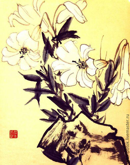 Картины цветов ручной работы. Ярмарка Мастеров - ручная работа. Купить картина на рисовой бумаге Белая лилия у камня. Handmade.