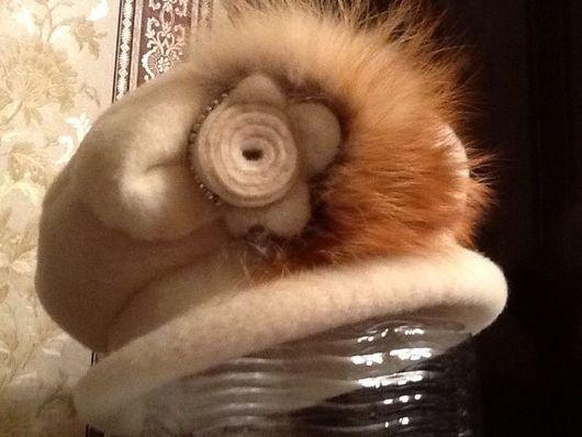 """Шапки ручной работы. Ярмарка Мастеров - ручная работа. Купить Берет с полями ,,Эдельвейс зимний"""". Handmade. Берет зимний"""