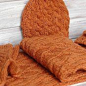 Аксессуары handmade. Livemaster - original item Set Scarf beanie Knitted with knitting needles brown. Handmade.