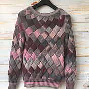Одежда handmade. Livemaster - original item Seamless sweater gray/pink entrelac. Handmade.