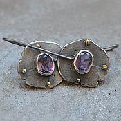 Украшения handmade. Livemaster - original item Amethyst earrings, silver and brass. Handmade.