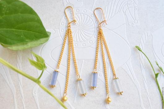 Серьги ручной работы. Ярмарка Мастеров - ручная работа. Купить Нежные голубые серьги в комплект к браслету или бусам. Handmade.