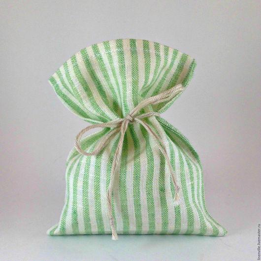 Подарочная упаковка ручной работы. Ярмарка Мастеров - ручная работа. Купить 10 мешочков в зеленую полосочку. Handmade. Белый