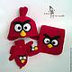 """Одежда унисекс ручной работы. Шапка, шарф, варежки """"Angry Birds Red"""". Лена Потапова (Вязать люблю). Интернет-магазин Ярмарка Мастеров."""