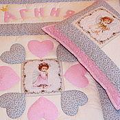 Пледы ручной работы. Ярмарка Мастеров - ручная работа Именной комплект в кроватку для маленькой принцессы. Handmade.