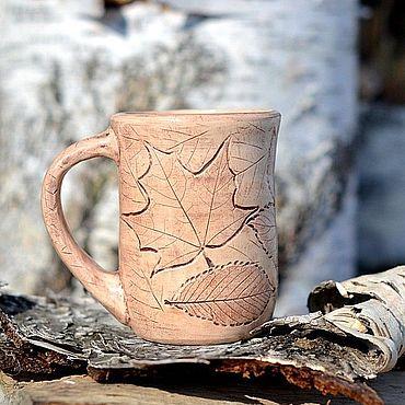 Посуда ручной работы. Ярмарка Мастеров - ручная работа Керамическая кружка глиняная чашка Кленовый Лист. Handmade.