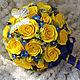 Свадебные цветы ручной работы. Свадебный букет для свадьбы в желто-синем. Минокина Ольга (minokina). Ярмарка Мастеров.