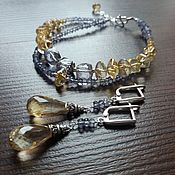Украшения handmade. Livemaster - original item Silver bracelet and earrings with Iolite and citrine.. Handmade.