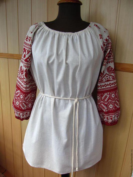 """Одежда ручной работы. Ярмарка Мастеров - ручная работа. Купить Блуза в фольклорном стиле """"Петушки"""". Handmade. Бежевый, хлопко-лён"""