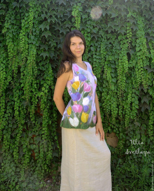 Designer Julia Bright, felted vest with tulips, felted vest with flowers, buy felted vest, Holland, mill, Tulip field, beautiful vest