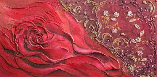 """Картины цветов ручной работы. Ярмарка Мастеров - ручная работа. Купить Объемное панно """"Роза"""". Handmade. Бордовый, панно, роза"""
