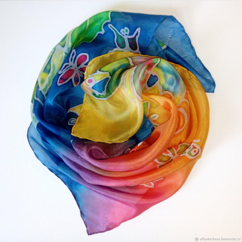 Роспись по шёлку платок Радужные бабочки, Шарфы, Варна,  Фото №1