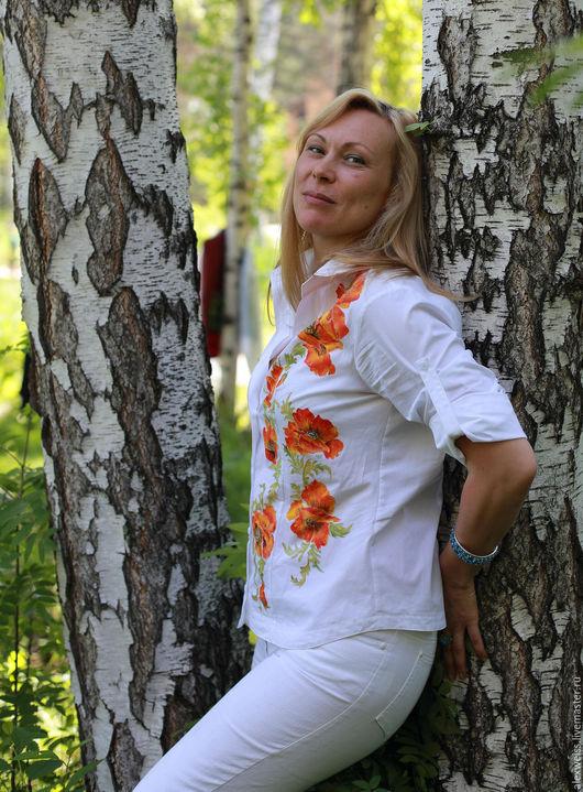 Блуза из хлопка(Индия),с регулируемыми рукавами.