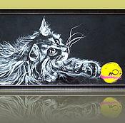 Картины и панно ручной работы. Ярмарка Мастеров - ручная работа Картина из шерсти пушистая Кошка с клубком 30 х 60 см.. Handmade.