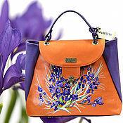 """Сумки и аксессуары ручной работы. Ярмарка Мастеров - ручная работа Кожаная сумка с вышивкой """"Purple flower"""", сумка из кожи. Handmade."""