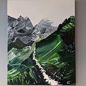 """Картины ручной работы. Ярмарка Мастеров - ручная работа Интерьерная картина маслом """"Горы"""". Handmade."""