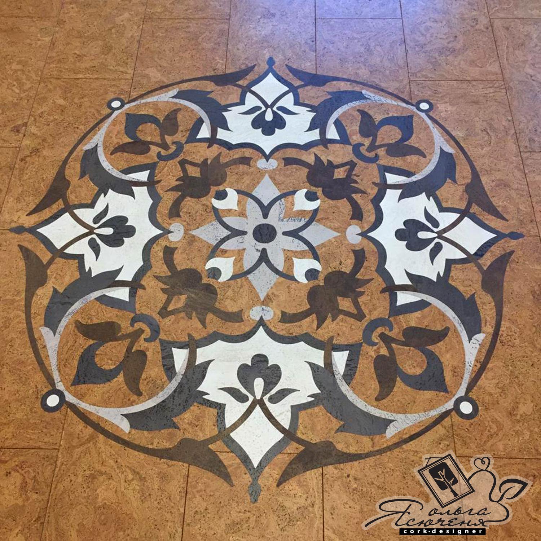 """Interior Design handmade. Livemaster - handmade. Buy Розетка для пола """"Цветочный узор"""".Decor, house, pots, cork"""