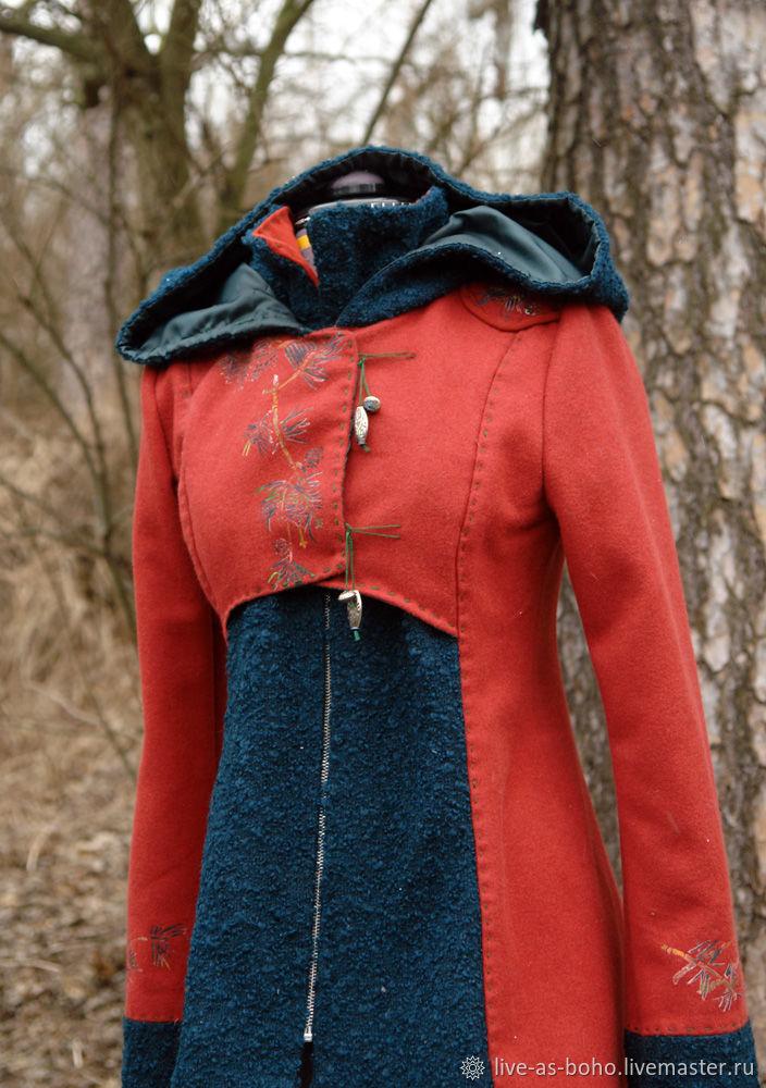 """Верхняя одежда ручной работы. Ярмарка Мастеров - ручная работа. Купить пальто """"сосна"""". Handmade. Бордовый, пальто с вышивкой"""