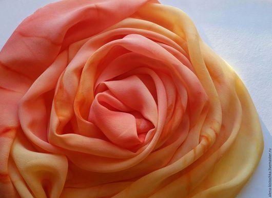 Шарфы и шарфики ручной работы. Ярмарка Мастеров - ручная работа. Купить Шелковый шарф желто-оранжевый. Handmade. Шарфик, оранжевый
