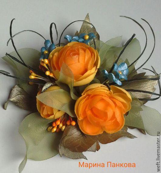 Брошь  из ткани оранжевые купавки, брошь из ткани, броши купить, брошь цветок, брошь ручной работы, брошь в подарок.