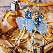 Украшения handmade. Livemaster - original item Blue earrings with bows aquamarine. bead earrings.. Handmade.