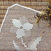 Для дома и интерьера ручной работы. Ярмарка Мастеров - ручная работа Филейная салфетка с цветком. Handmade.