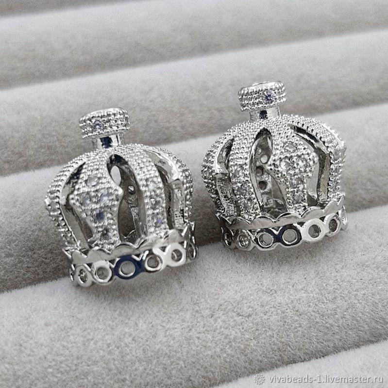 Cap Crown 15h13 mm cubic Zirconia platinum (3441), Accessories for jewelry, Voronezh,  Фото №1