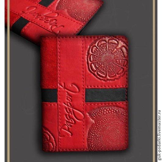 Кошельки и визитницы ручной работы. Ярмарка Мастеров - ручная работа. Купить обложка на паспорт (5507) натуральная кожа. Handmade.