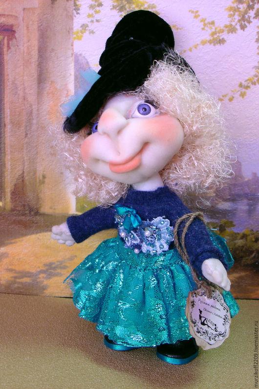 Коллекционные куклы ручной работы. Ярмарка Мастеров - ручная работа. Купить Девчушка в голубом. Handmade. Бирюзовый, подарок на любой случай