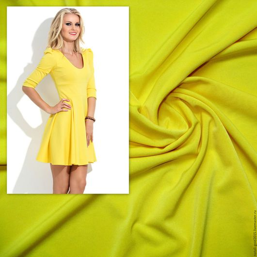 """Шитье ручной работы. Ярмарка Мастеров - ручная работа. Купить Трикотаж """"Масло"""" жёлтый.. Handmade. Желтый, желтое платье"""