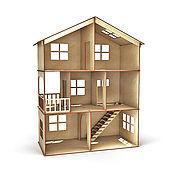 Кукольный домик 3 этажа с балконом и лесенкой
