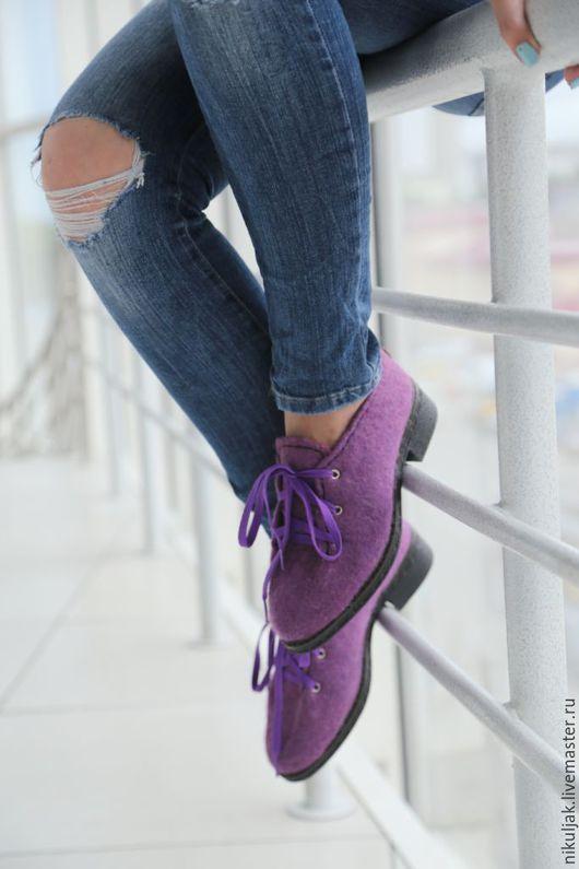 Обувь ручной работы. Ярмарка Мастеров - ручная работа. Купить Валяные полуботинки Аметистовый город. Handmade. Ботинки, валяная обувь