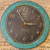 """Для дома и интерьера ручной работы. Ярмарка Мастеров - ручная работа Часы """"Бирюзовый гранж"""". Handmade."""