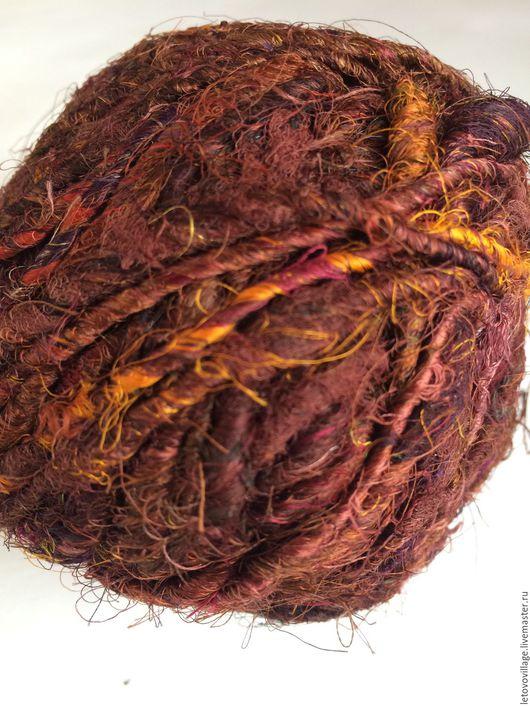 Вязание ручной работы. Ярмарка Мастеров - ручная работа. Купить Индийский шелк САРИ коричневый. Handmade. Шелк натуральный