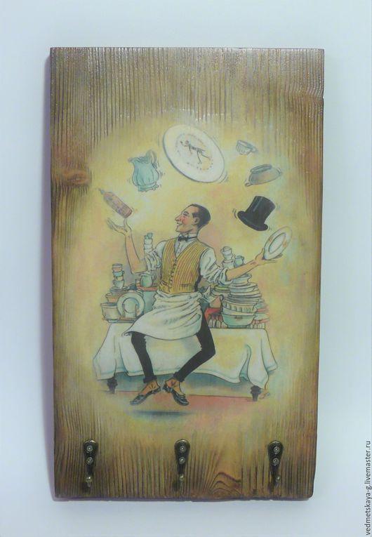 """Кухня ручной работы. Ярмарка Мастеров - ручная работа. Купить Вешалка для кухни """"Виртуоз"""". Handmade. Бежевый, Декупаж, акриловые краски"""