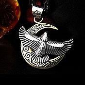 Украшения handmade. Livemaster - original item Pendant Eagle and a crescent of 925 unisex. Handmade.