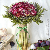 Цветы и флористика ручной работы. Ярмарка Мастеров - ручная работа Букет  из сухоцветов «Сливовый». Handmade.