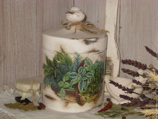 """Кухня ручной работы. Ярмарка Мастеров - ручная работа. Купить Банка для хранения """" Травы """". Handmade. Белый, травы"""